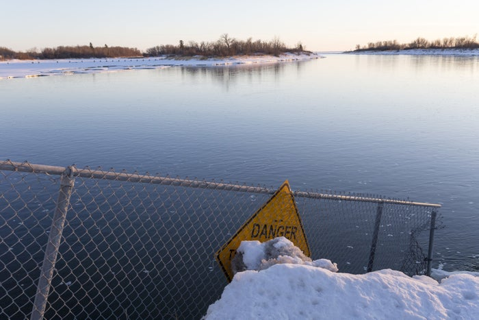 Looking west from the Fairford River Water Control Structure, at the channel connecting Lake Manitoba to the Fairford River.