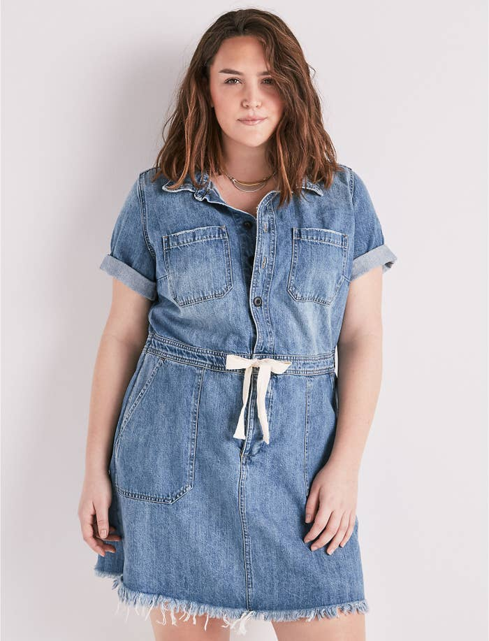 bdc6a3ec7fad A denim drawstring dress to pay homage to the leg prisons — erm, jeans —  that kept you warm all winter. Thnx for the memories.