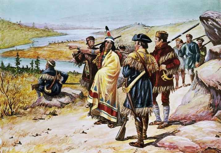 """Sacajawea is an invaluable figure in American history who received basically nothing in return for her work. She joined Meriwether Lewis and William Clark on their journey west in 1805 with her husband Toussaint Charbonneau, to whom she'd been sold as a slave when she was 12. Sacajawea, who was fluent in both Shoshone and Hidatsa, was a crucial translator for the multilingual crew, helped navigate the terrain she was deeply familiar with, and acted as a diplomat when they encountered new Native American tribes. Clark himself called her his """"pilot,"""" and may not have made it to his destination without her ability to procure horses for everyone. At the end of the excursion that she helped make so successful, Charbonneau was given $500.33 and 320 acres of land, while Sacajawea received nothing."""