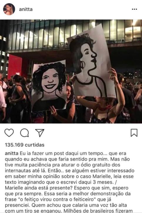 Ela usou sua conta no Instagram nesta segunda (19), para dar sua opinião sobre a execução da ativista no dia 14.