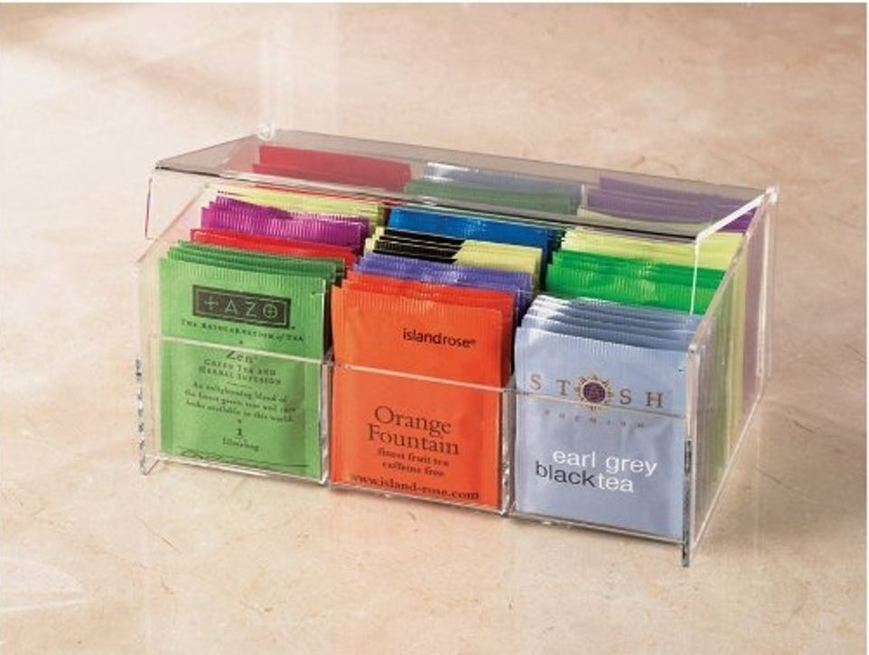"It has six compartments to hold all the tea you can handle!Promising review: ""This was exactly what I was looking for! I needed something to neatly display my tea bags on the kitchen counter and allow easy access. This was perfect. The description provided did match the product received. It's acrylic so it's certainly breakable, but it is pretty durable for sitting on the counter to hold my tea bag assortments and for daily use."" —lesanders Get it from Amazon for $16.99."