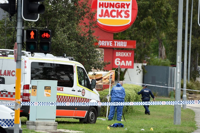 The scene outside Hungry Jack's in February 2015.