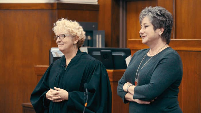 Judge Patricia Keller and Necia Freeman, stars of the Oscar-nominated documentary Heroin(e), in the Cabell-Huntington adult drug court.