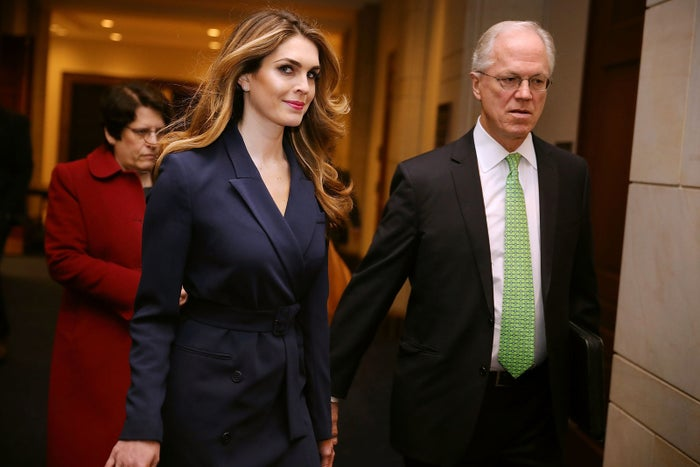 Former White House communications director and presidential adviser Hope Hicks arrives at the US Capitol Visitor Center on Feb. 27, in Washington, DC. Hicks testified behind closed doors to the House Intelligence Committee in its ongoing investigation into Russia's interference in the 2016 election. On Wednesday, Hick resigned from the Trump administration.