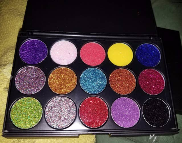 """Promising Review: """"This palette is absolutely amazing. The variety of colors will definitely help make any look possible. The swatches I did stayed put. And when i wore the purple glitter, it glided on evenly. The consistency is nice and not gritty. I'm sure this palette will be one of my favorites."""" —Kia SolorzanoGet it from Amazon for $12.99."""