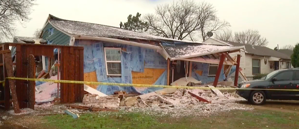 One of the recently damaged homes in northwest Dallas.