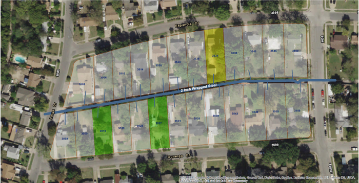 A map of the two house fires and explosion.