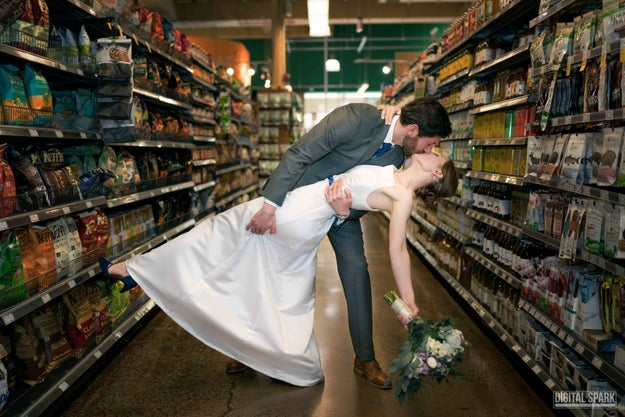 That's right, the newlyweds recently cemented their commitment to the store — and each other — by getting married at the Chapel Hill, North Carolina location of the grocery store.