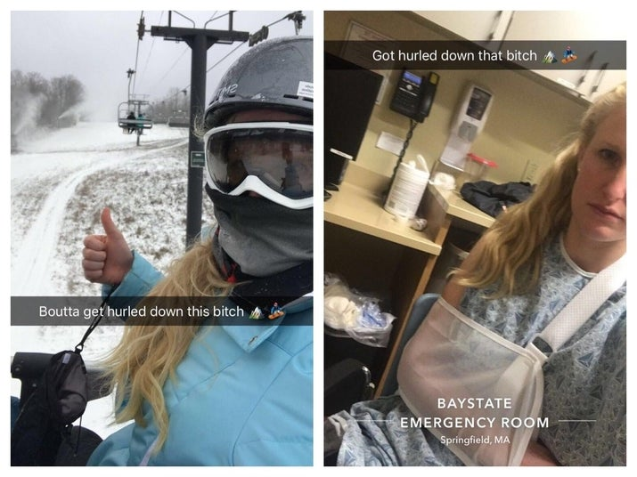 "LEFT: ""Boutta get hurled down this bitch 🏔🏂"" RIGHT: Got hurled down that bitch 🏔🏂"""