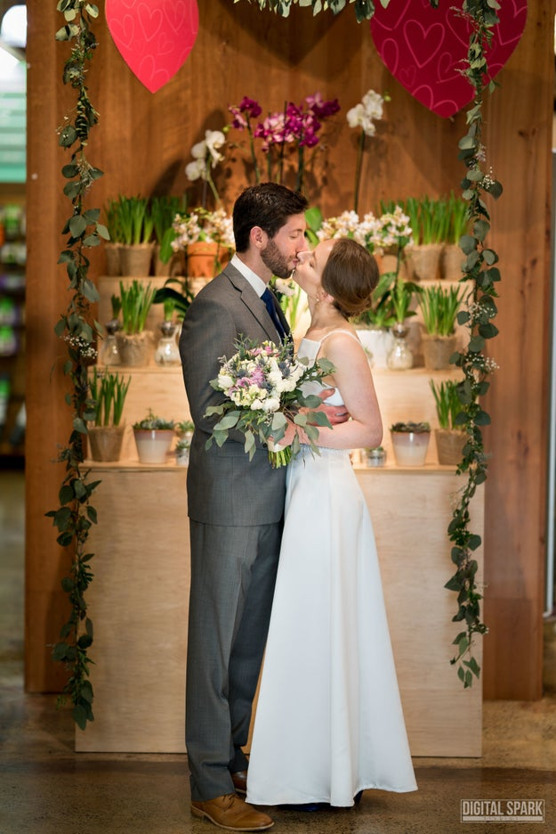 The duo tied the knot in the flower department on Feb. 24, the same spot Aronson had proposed to Troutman exactly one year earlier.