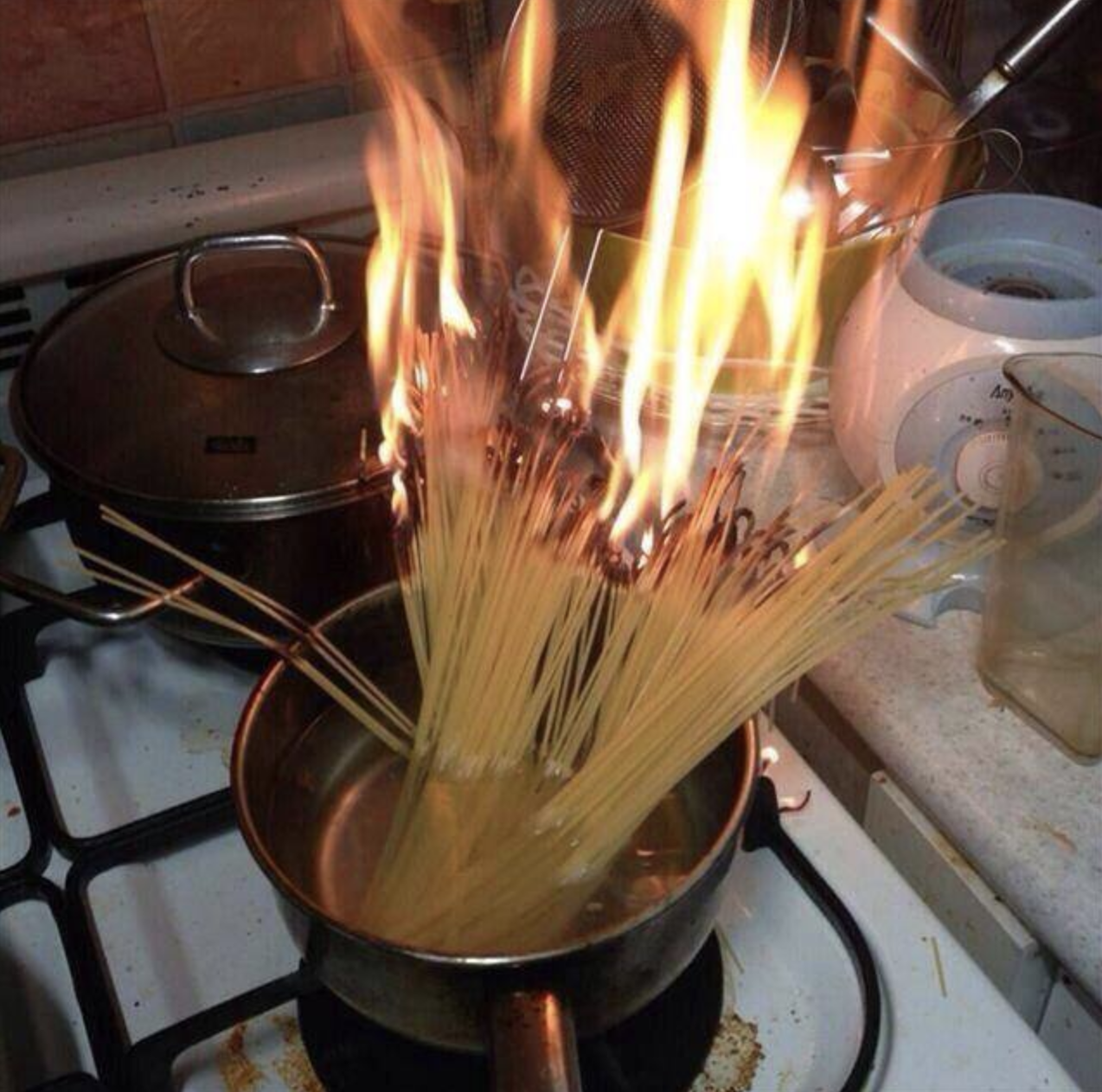 Whoever managed to create a bonfire out of spaghetti needs to be banned from every kitchen: