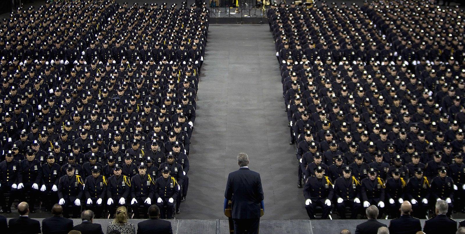 Mayor Bill de Blasio speaks to the New York City Police Academy graduating class, Dec. 29, 2014.