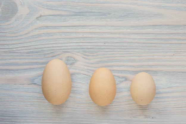 You use the wrong size eggs in your recipes.