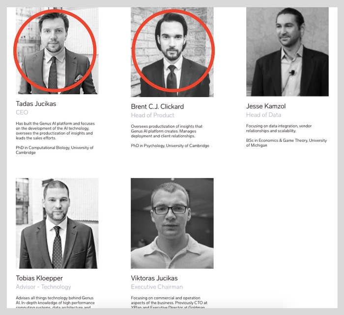 A screenshot showing the founders of Genus AI from its website.