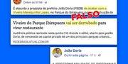 Suplicy compartilha notícia falsa sobre o Ibirapuera e Doria vai tirar satisfação