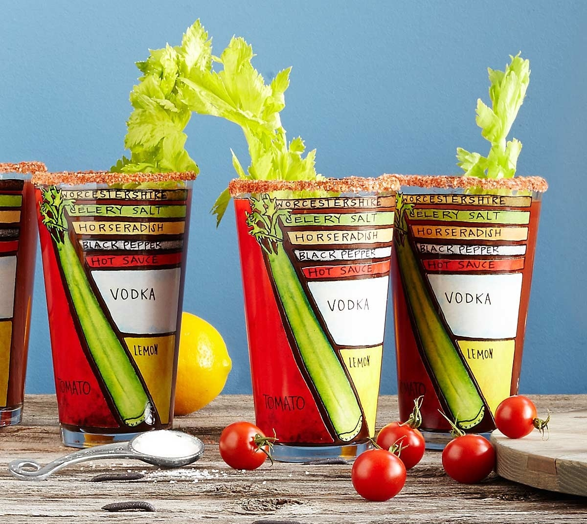A set of diagram pint glasses for the coolest way to serve a Bloody Mary.