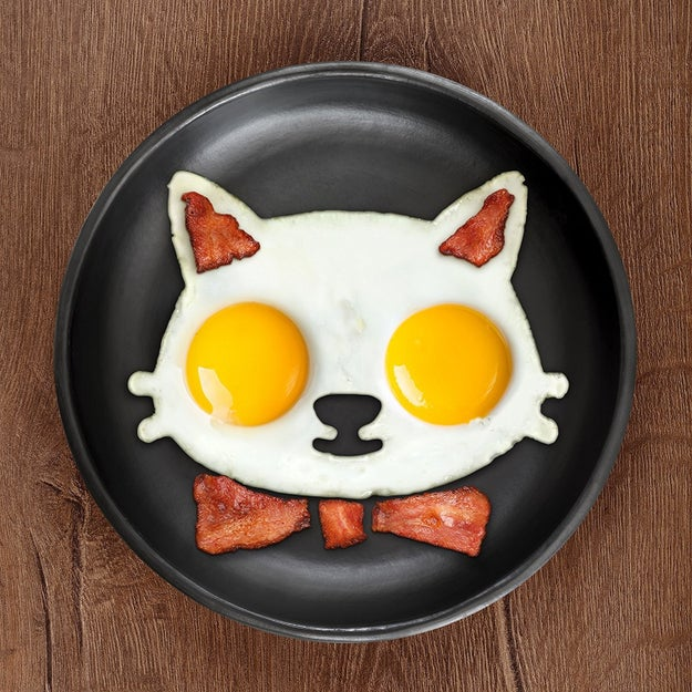 A silicone egg mold for making a purrr-fectly shaped breakfast.