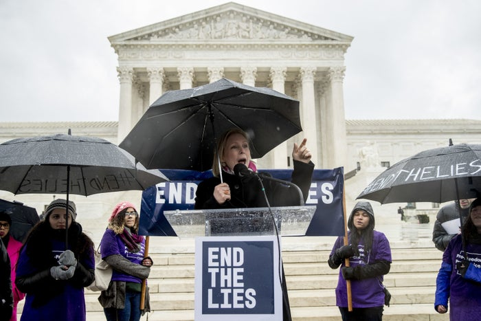 Sen. Kirsten Gillibrand speaks during an abortion rights rally outside the Supreme Court during arguments over California's attempt to regulate anti-abortion crisis pregnancy centers.