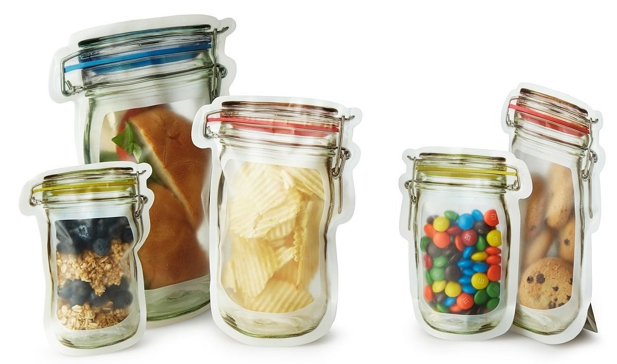 A set of reusable zipper bags people might mistake for real hinged jars because they can actually stand upright!