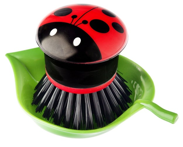 A ladybug dish brush that'll be super easy to spot in the sink.