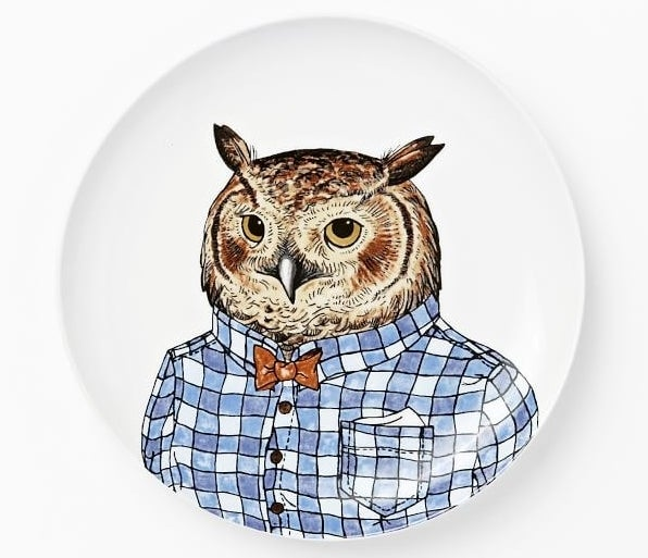 A salad plate with a dapper owl ~hoo~ is probably better dressed than you are. 😂