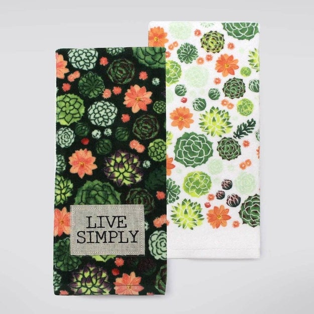 A pair of cotton kitchen towels to make doing the dishes ~succ~ a little less.