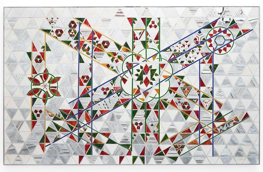 "Monir Farmanfarmaian, ""Gabbeh,"" 2009 (mirror, reverse-glass painting, and plaster on wood)."
