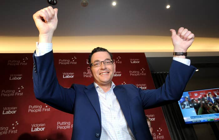 Victorian Labor Party leader Daniel Andrews celebrates, at a party function in his electorate of Mulgrave, following his victory in the Victorian State election.