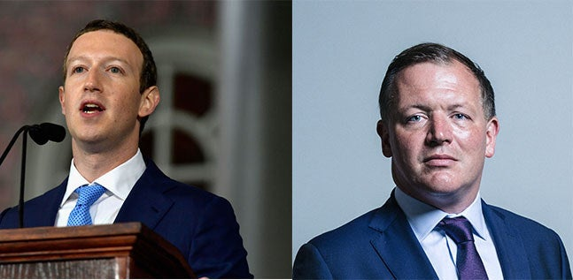 Damian Collins (R) and Mark Zuckerberg
