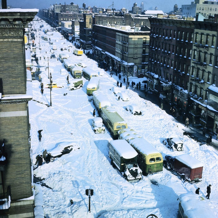 This is a view looking down from 121st Street on Eighth Avenue on the day after the big snowfall of 1947.