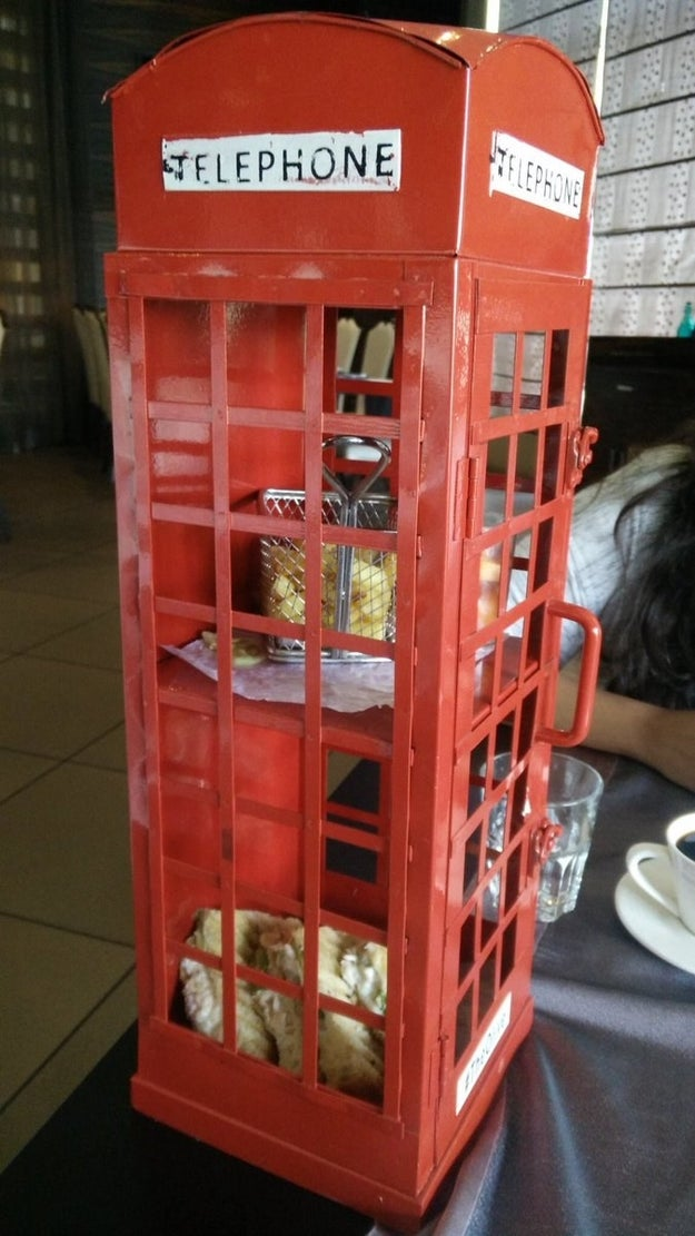 Yes, those are fries inside of this...phone booth: