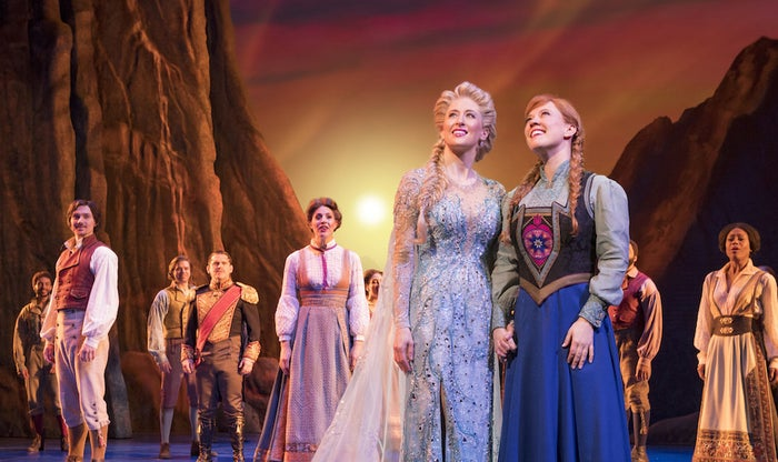 Caissie Levy and Patti Murin had big shoes to fill stepping into the respective roles of Elsa and Anna: Idina Menzel and Kristen Bell delivered distinctive vocal performances in the 2013 Disney film. That makes the work Levy and Murin are doing here all the more impressive. It's not just that they sound great — and they really do —but that they completely make the characters their own. Both have landed on the ideal blend of vulnerability and determination, making the sisters deeply sympathetic while also forces to be reckoned with. The Broadway iterations of Anna and Elsa will be familiar to fans of the film, but they also feel like unique creations specific to these new actors. That's a thrill to those of us who want to see Disney stage musicals that are inspired by but not carbon copies of the original films.