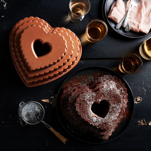 A heart-shaped bundt pan for baking cakes so pretty, they'll bring a ~tier~ to your eye.