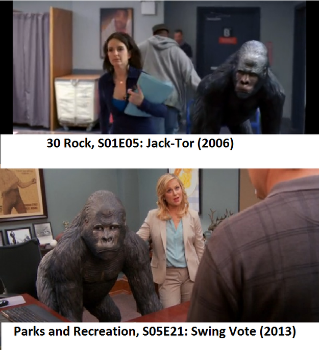 And it looks like Liz Lemon's gorilla statue eventually became Leslie Knope's.