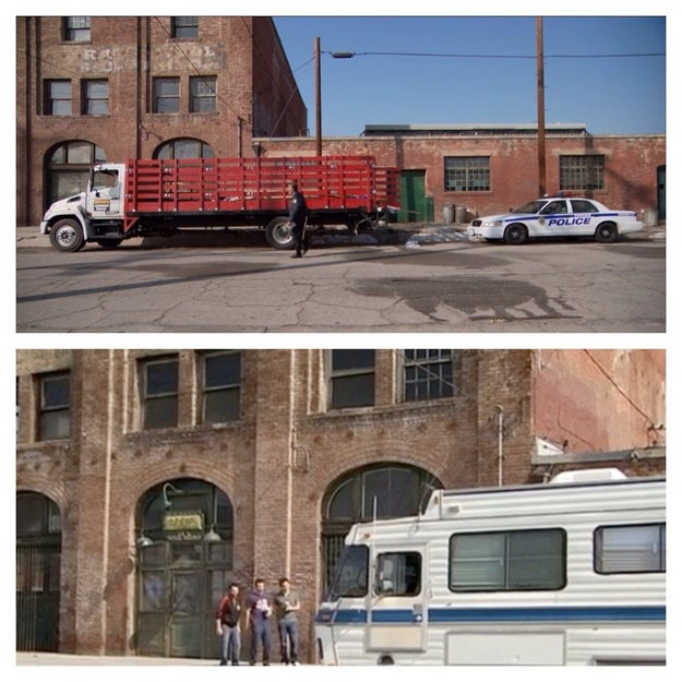Ron Swanson gets pulled over by the Pawnee police...outside Paddy's Pub from It's Always Sunny in Philadelphia.
