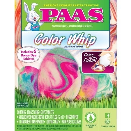 The classic egg-dyeing kit you remember from childhood has gotten even more fabulous! Whip up colored eggs using food-safe foam in this kit that features six dye tablets, four liquid dye pouches, and foam powder for decorating!
