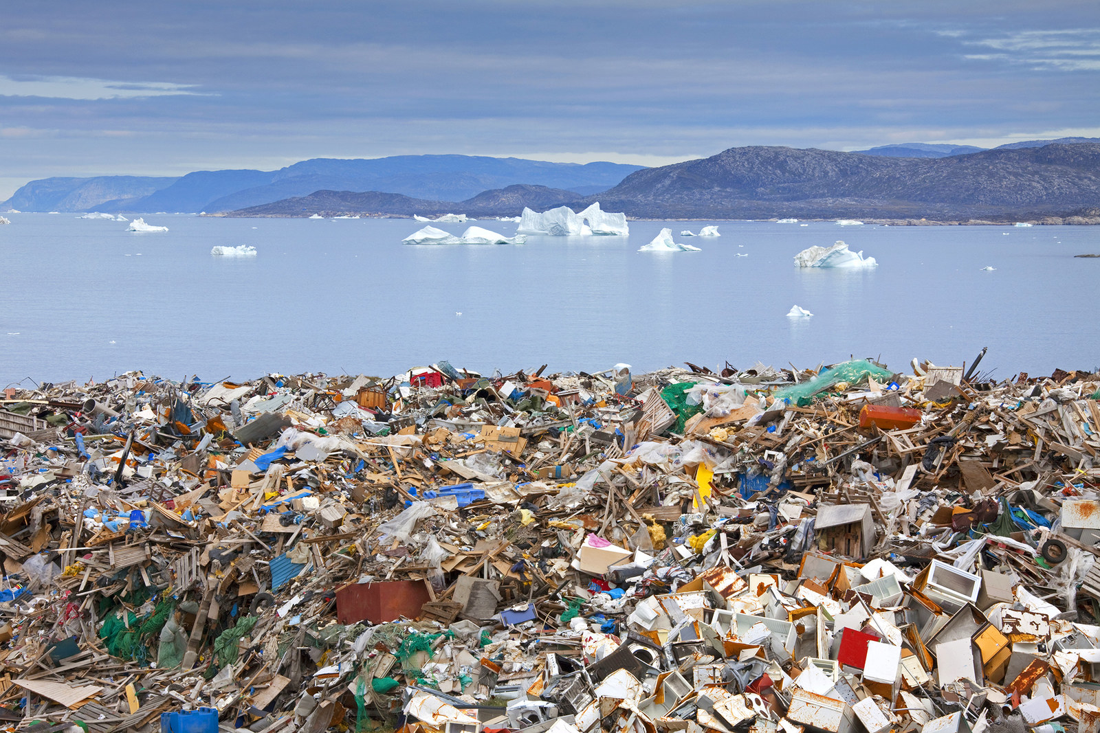 Rubbish gathers at a garbage dump in Disko Bay, Greenland, on Aug. 8, 2010.