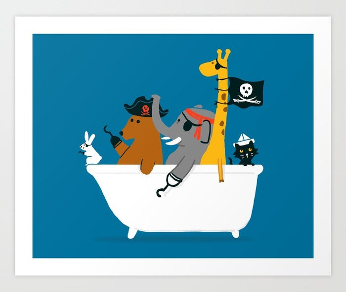 pirate animals in a bath tub art print