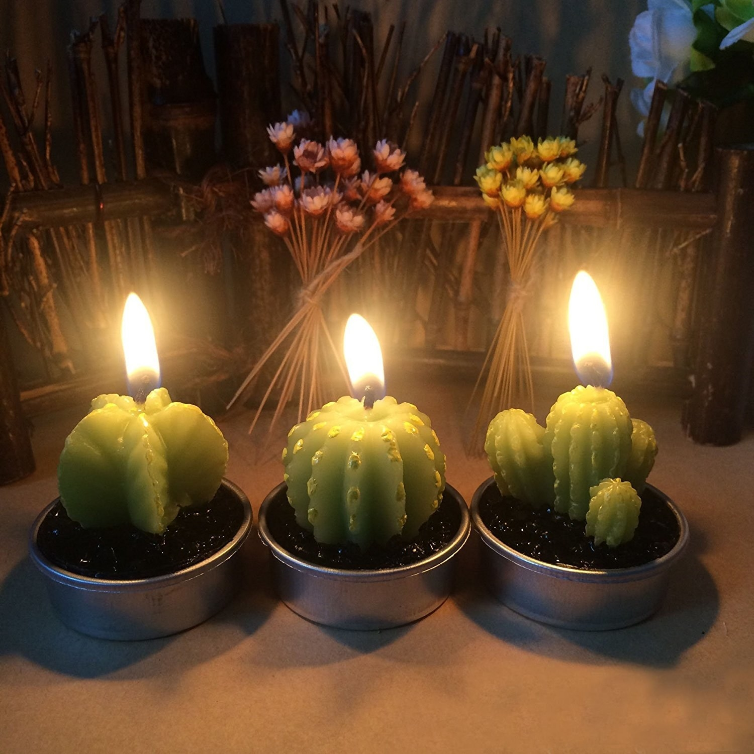 candles shaped like three different kind of cacti with fake soil