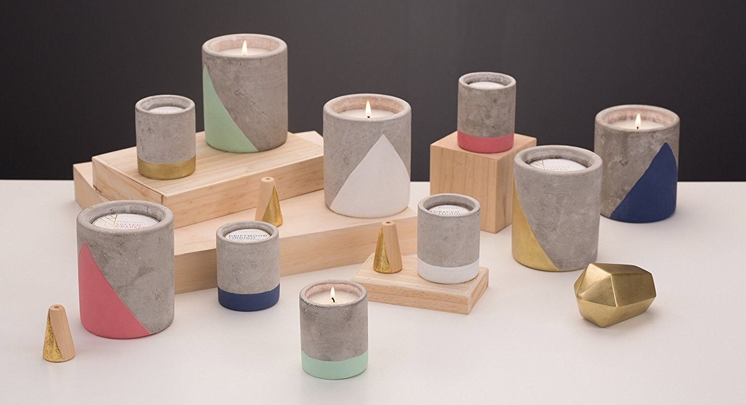 cement candle holders with paint dip design