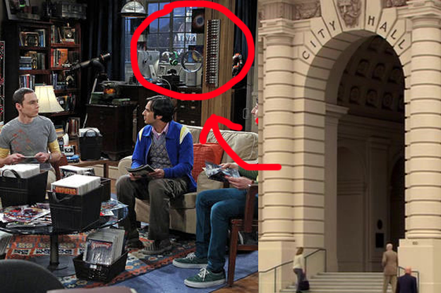 The apartment in The Big Bang Theory has a gorgeous view...of Pawnee City Hall.