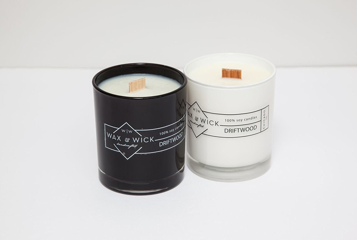 black and white candles with flat wooden wicks