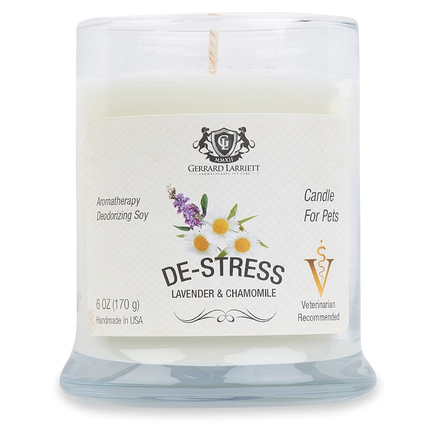 glass candle called de-stress