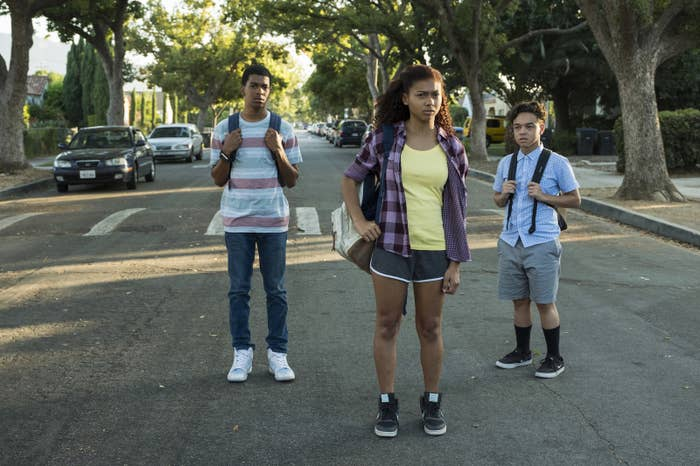 Brett Gray, Sierra Capri, and Jason Genao in On My Block.