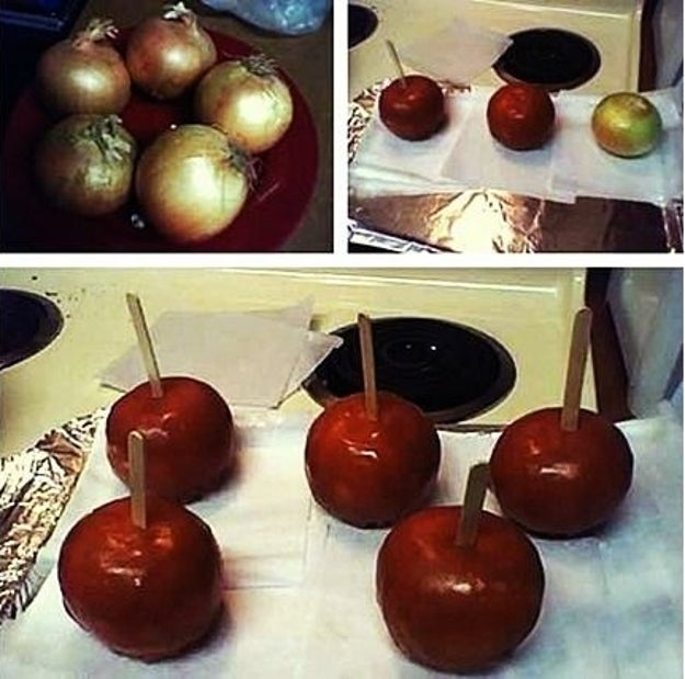 Cook up some delicious-looking candy apples with...onions.
