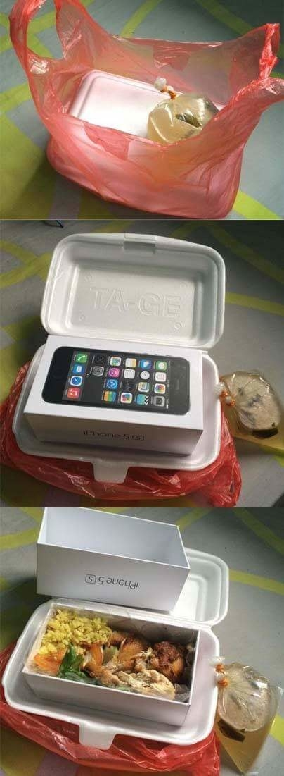 And finally, pull a DOUBLE prank by placing takeout food inside an iPhone box, INSIDE the takeout food container. Phew.