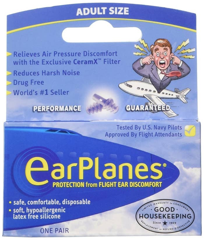 """Promising review: """"I love this product! Every couple of trips, no matter what tricks I try, I cannot clear my ears. The ear pain is immense at takeoff (I completely understand why those babies and toddlers wail!), and then I'm hard of hearing for days. With these, that has never happened. A few other people near me had ear pain and I did not, so I was very grateful I'd bought this product."""" —Amy Clark Get a pack of three from Amazon for $14.25."""