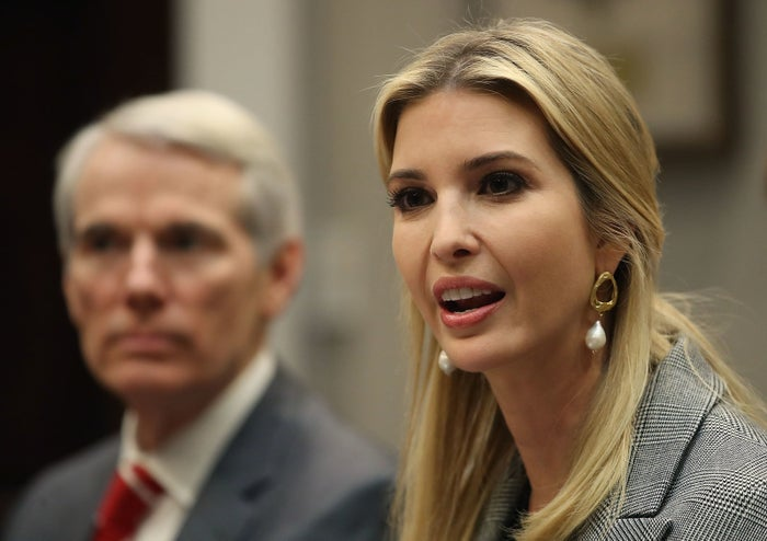 Ivanka Trump and Sen. Rob Portman, an Ohio Republican, during a bipartisan round table discussion on sex trafficking with members of Congress and the private sector, March 13, 2018, in Washington, DC.
