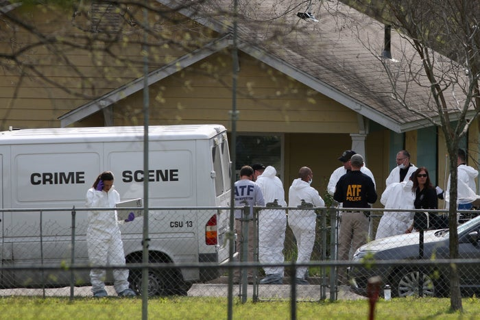 Law enforcement personnel investigate the home where Austin serial bomber Mark Anthony Conditt lived in Pflugerville, Texas, U.S.