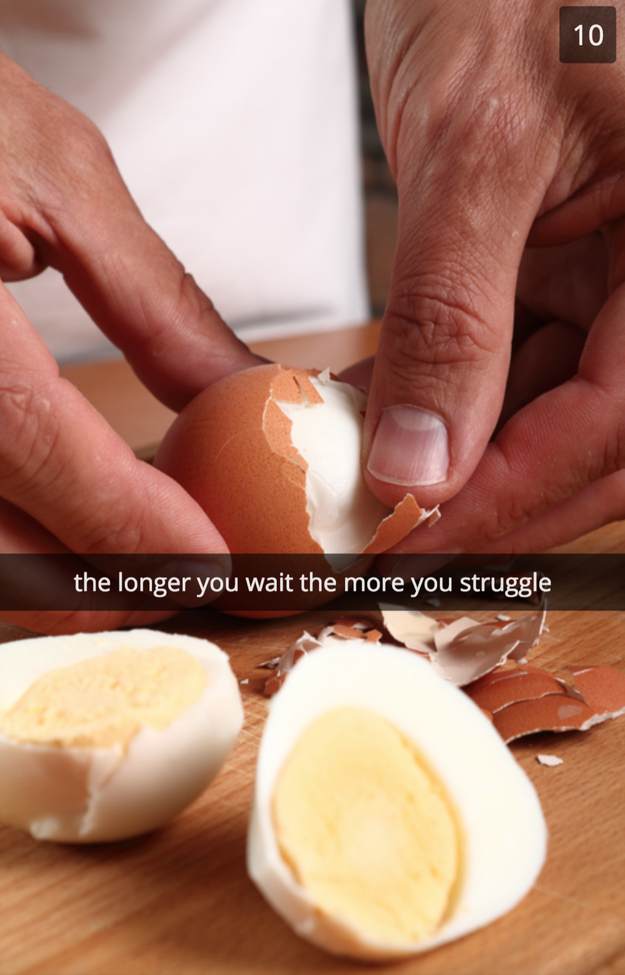 You wait too long to peel your hard boiled eggs.
